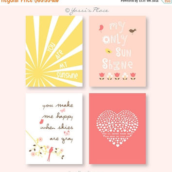 Halloween Sale You Are My Sunshine girl nursery art in coral, peach, latte brown and yellow, sun rays, tulips, pink bird, heart/ Set of four