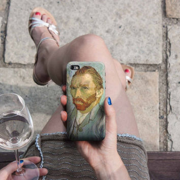 Selfportrait - Van Gogh iPhone Case 6, 6S, 6 Plus, 4S, 5S, LG, Galaxy, Sony, HTC, Huawei. Art Painting. Gift Idea. Gift for him her 4