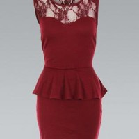 Red Sleeveless Bodycon Peplum Dress with Lace Detail