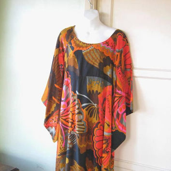 Amazing Vintage Hawaiian Maxi; Women's Medium Caftan w/ Batwing/Bell Sleeves in Orange Floral/Butterfly Print; U.S. Shipping Included
