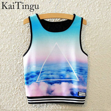KaiTingu 2016 Brand New Fashion Women Sleeveless Sky Print Crop Top Cropped Tops Casual Top Fitness Women Vest Tank Tops