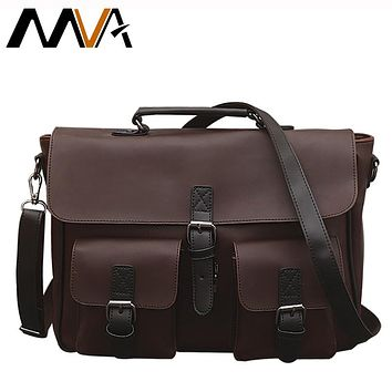 Men Briefcase Leather Laptop Bag Handbag Totes Vintage PU Leather Men Bags Messenger Bags Office Shoulder Crossbody Bag