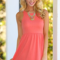 EVERLY:What's In Store Dress-Dark Coral