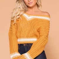 Lynden Mustard Knit Crop Sweater