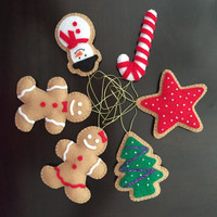 Felt Christmas Ornaments / Felt Christmas Decorations / Felt Christmas Cookies / Gingerbread Cookies