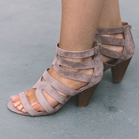 SZ 6 Attention Please Taupe Open Toe Heels