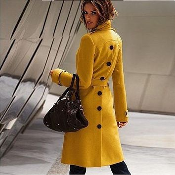 2016 Autumn and Winter Fashion Cashmere Women's Wool Coats Sexy Woolen Coat Outerwear Female Overcoat Trench Ladies Casual Coat