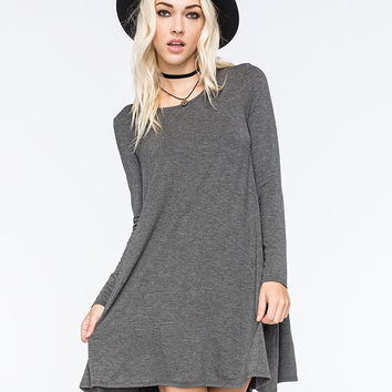 Full Tilt A Line Dress Charcoal  In Sizes