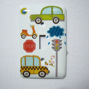 Driving themed single light switch cover