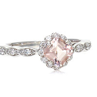 Platinum Asscher Morganite Engagement Ring Morganite Ring White Sapphire Halo Custom Bridal Jewelry