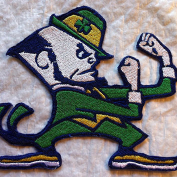 Notre dame fighting irish embroidered patch nd clover l.