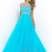 Illusion Neckline Blush Prom Dress 10001