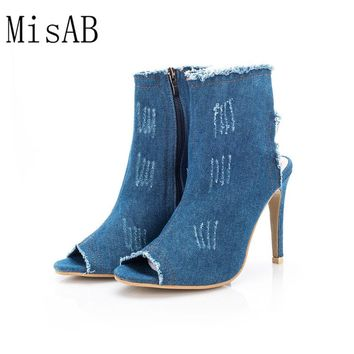 2017 NEW Women Boots summer autumn peep toe ankle Boots women shoes quality High elastic jeans fashion boots high heels ALF573
