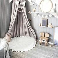 Grey Bed Canopy & Fairy Lights
