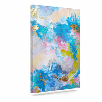 "Ebi Emporium ""When We Were Mermaids"" Blue Yellow Canvas Art"