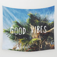 good vibes Wall Tapestry by Hillary Murphy
