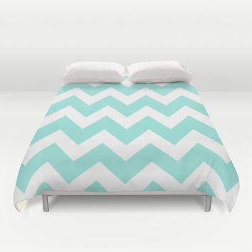 Chevron 4 Tiffany Blue Duvet Cover by Beautiful Homes