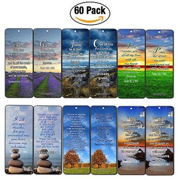 Thanksgiving Gratitude Bible Verses Bookmarks Cards (60-Pack)- Christian Inspirational and Encouraging Holy Scriptures - Philippians 4:6-7, Deuteronomy 16:15, Psalms - God''s Blessings