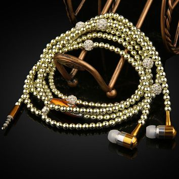 Fashion Earphones Lady Woman Beads Necklace Chain Pearl Earphone with Microphone Stereo In-ear For Xiaomi iPhone Samsung Headset