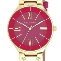 Anne Klein Round Leather Strap Watch, 38mm