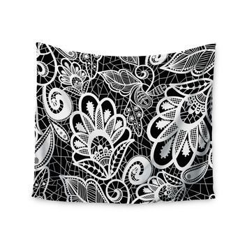 "Petit Griffin ""Floral Lace BW"" Abstract Modern Wall Tapestry"