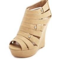Zip-Back Caged Wedge Bootie: Charlotte Russe