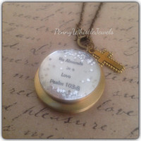 Psalm 103:8, Scripture Locket, Scripture Necklace, Photo Locket, Bible Verse Necklace, He Abounds In Love