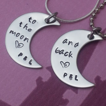 Custom Hand Stamped Necklace Set - moon pendants - lovers, friends, mom, girl, sisters, Couples