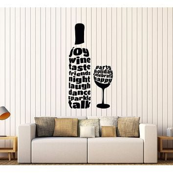 Vinyl Wall Decal Wine Glass Bottle Alcohol Word Bar Stickers Unique Gift (287ig)