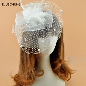 E JUE SHUNG Free Shipping White Black Red Birdcage Net Wedding Hats Bridal Fascinator Face Veils Feather Flower with Hairpin