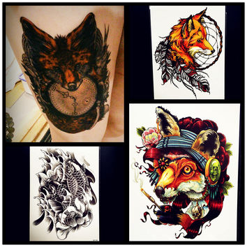 Large Size Men Body Art Arm Tattoo Fox Sexy Women HEnna Tattoo Stickers 21x15CM Fake Flash Carp Fish Tatoo Armband Tatoo Paste