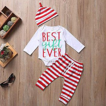 Striped Newborn Baby Boys Girls Clothes Sets Outfit Bodysuist Top Long Sleeve Pants Hat Cotton Clothing