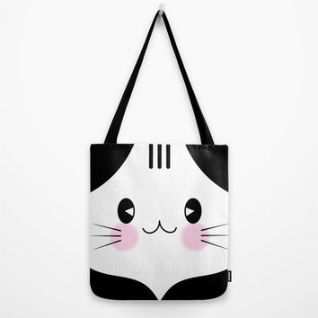 Kawaii Cat Tote Bag, Kitten Tote Bag, Cute Bag, Cat Market Bag, Cat Hand Bag