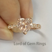 Heart Morganite Engagement Ring Pave Diamond Wedding 14K Rose Gold 8mm Art Deco