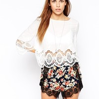 Glamorous Crochet Trim Cotton Blouse