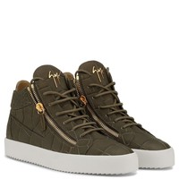 Giuseppe Zanotti Gz Kriss Green Crocodile-embossed Mid-top Sneaker