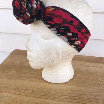 Multi Color Abstract Handmade Rose Knot Headband-African Print Head Scarf-Women's Knit Head Wrap-Toddler Kid's Knot Headband-Gifts for Her-