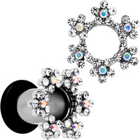2 Gauge Clear and Aurora Gem Snowflake Steel Tunnel Plug Set