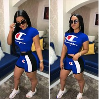 Champion Summer Fashion Woman Casual Print Short Sleeve Top Shorts Set Two Piece Blue
