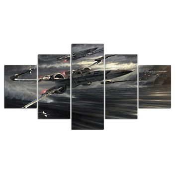 5 Panel Fighter Aviation Jet Movie Game Canvas Wall Art Canvas Panel Print Pictu