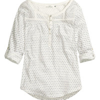 Lace-trimmed Jersey Top - from H&M