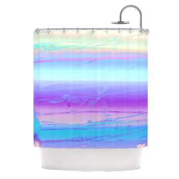 "Nina May ""Drip Dye Cool"" Pastel Blue Shower Curtain"