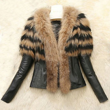 Turn-Down Collar Faux Fur Long Sleeve PU Leather Jacket
