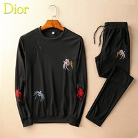 Boys & Men Dior Top Sweater Pullover Pants Trousers Set Two-Piece Sportswear