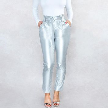 Spring fashion  women's wear slim high-waisted and bright leather pants with small feet Silver
