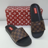 ABSPBEST Louis Vuitton x Supreme Slippers