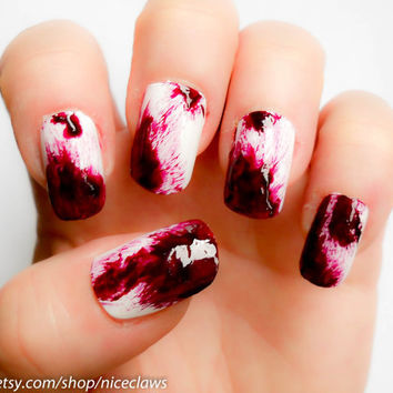 Real Clot Effect Dexter Inspired Bloody Fake Nails by niceclaws