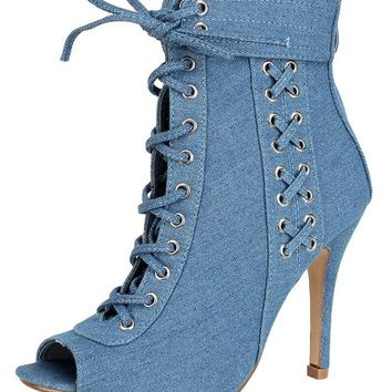 LIGHT BLUE DENIM SILVER LACE UP ANKLE BOOT