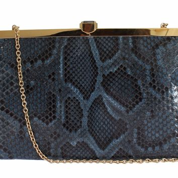 Bag Blue Python Snakeskin Shoulder Crystal Clutch