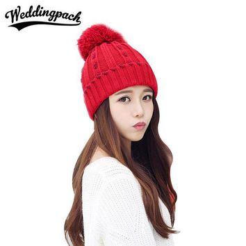 VONG2W Knitted Women Beanies Caps Female Winter Hats With Mink Ball Autumn Female Skullies Hat Elastic Warm Beanies Wome's Accessories